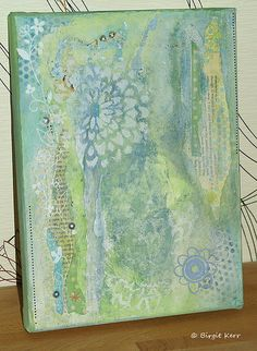 Mixed Media Canvas by phossy_69, via Flickr Love the layers - stencils, torn paper, paint