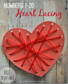 Numbers Heart Lacing Math Craft