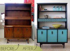 Renovando móveis de madeira.