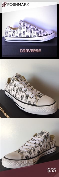 BRAND NEW Converse Pineapple Print  SUPER RAD Pineapple Print  Converse ready for summer!!! Get these bad boys while they last! Not made anymore and HARD to find! Padded insole for comfort and eyelets on inside of ahoenfor breathability! Women's size 10 FIRM ON PRICE Converse Shoes Sneakers