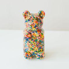 Cute kid's bedroom decor. Sculpture shaped like a gummi bear with sprinkles. Handmade piece of art by sazerac stitches. Baby Girl Nursery Decor, Cute Bears, Gummy Bears, Colorful Interiors, Lovers Art, Piggy Bank, Cute Kids, Kid Stuff, Sprinkles