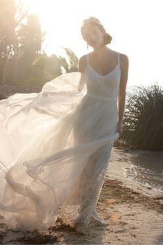 A wedding dress with plenty of movement.