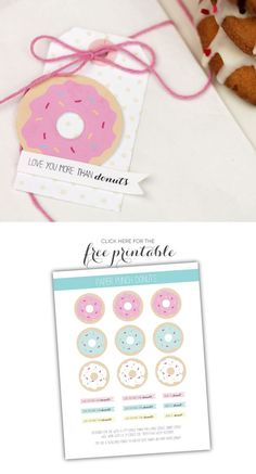 Free Printable Donuts by Amber at Damask Love --- Simple doughnut decorating recipe free printable gift tag Printable Tags, Printable Planner, Party Printables, Planner Stickers, Free Printables, Donut Birthday Parties, Donut Party, Donuts, Washi