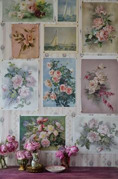Floral pictures pinned to the wallpaper create a beautiful gallery of vintage art. So shabby chic, feminine, and pretty! Shabby Chic Mode, Shabby Chic Cottage, Vintage Shabby Chic, Shabby Chic Style, Shabby Chic Decor, Vintage Decor, Vintage Floral, Shabby Bedroom, Vintage Theme