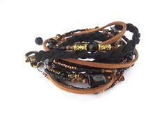 Womens Leather Boho Wrap Bracelet Black & Gold Beaded Wrap Bracelet Black Leather Boho Bracelet Bead