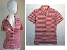 """TORY BURCH ~CLASSIC NAUTICAL LOVE~ STRIPED """"LOGO BUTTON"""" SOFT POLO TEE TOP S in Clothing, Shoes & Accessories, Women's Clothing, Tops & Blouses 