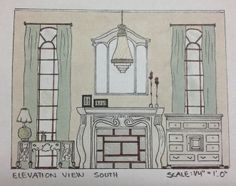 Interior Design Sketching And Space Planning Of A Living Room Elevation View