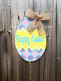 New! Wooden Easter Egg Door Hanger with Burlap Bow Wreath, interior decorating, interior design Happy Easter. Great for spring. Jayne's wreath designs on FB and Instagram Bow Wreath, Burlap Bows, Interior Decorating, Interior Design, Garlands, Door Hangers, Happy Easter, Spring Time, Easter Eggs
