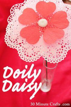 Doily Daisy - fun Valentine's Day Craft