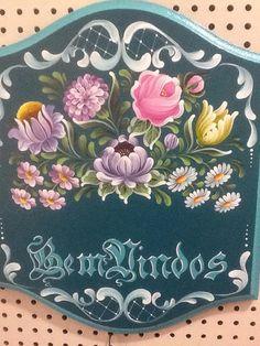 pattern for Bauernmalerei One Stroke Painting, Tole Painting, Fabric Painting, Painting On Wood, Painting Eggs, Folk Art Flowers, Flower Art, Rosemaling Pattern, Norwegian Rosemaling