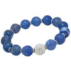 Bratara handmade albastra - bijuterie cu pietre semipretioase agate. http://www.argintarie.ro/Bratara-handmade-cu-pietre-semipretioase-agate-p-17104-c-377-p.html