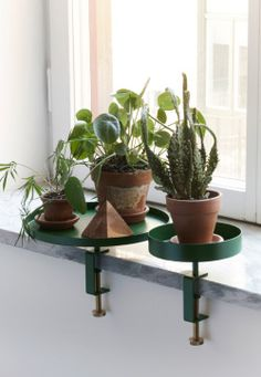 Clamp TraysClamp Trays can be used as an accessory for the home, screwed onto any surface like the window, bookshelf or a table. Large, green (25 cm) € 60/SEK 590Small, green (15 cm) € 50/SEK 490Email us for order or press loan. Photo credits: Viktor Sjödin.