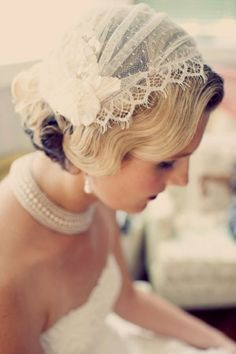 "1920s Virginia Wedding /Wedding Dress: Novia D'Art ""Fantasia"" / Bridal Cap and Veil: Twigs and Honey, style 109 / Wedding Shoes: BHLDN / Bride's Earrings: Luxedeluxe / Reception Dress: Blue Velvet Vintage / Bride's Hair: Janet of Razzle Dazzle (Yorktown, VA) / Bride's Makeup: Susie of Best Face Forward / Groom's Suit: Vecona Vintage"