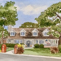 Realtor closing escrow gift. Custom watercolor house portrait. House Paintings, Realtor Gifts, Digital Backgrounds, Hand Sketch, Watercolor Artwork, Cool Lighting, Custom Paint, That Way