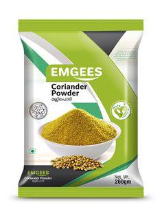 EMGEES Coriander Powder pouch design by Brandz Spices Packaging, Pouch Packaging, Food Packaging Design, Packaging Design Inspiration, Graphic Design Flyer, Coriander Powder, Nutrition, Food Labels, Product Label