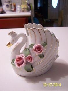 Vintage Lefton Glass Swan