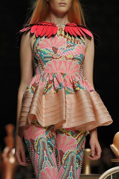 Manish Arora print Spring Summer. I like the different textures and the embroidery on the top. I also like the detail on the shoulders.