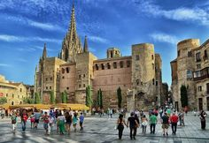 Adriatic house and Cathedral of Barcelona, Spain. emre turan/Getty Images