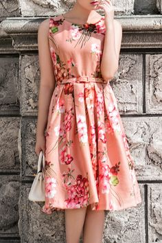 I love this style of dress! Vintage Style Coral Pink Floral Print Round Neck Fabric Belted Dress!