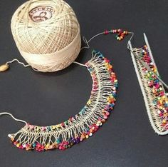 """Hairpin lace """"This post was discovered by gön"""", """"beautiful crochet doily mix of"""", """"Needle weaving with beads"""", """"Bracelets are now all the rage and Textile Jewelry, Fabric Jewelry, Beaded Jewelry, Handmade Jewelry, Beaded Necklace, Jewellery, Lace Bracelet, Bracelets, Hairpin Lace Crochet"""