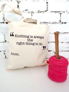 Cream Knitting quote knitting tote por KellyConnorDesigns en Etsy