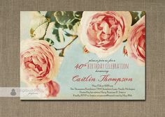 Roses Birthday Invitation Pink Aqua Sky Blue Rustic Shabby Chic Vintage Floral Milestone Printable Digital or Printed - Caitlin Style