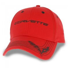 C7 Red Light Cap - Red  You might stop some traffic in this vivid-red structured cap with black accent stitching. C7 Corvette signature embroidered on the front crown and crossed flags on the left corner bill. Imported.  SKU: CM2-MC453