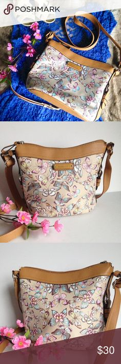 NWOT Rosetti Spring Butterfly Crossbody Bag Spring ready Rosetti crossbody bag, brand new without tags, 100% vegan leather, features adorable multicolor butterfly print, tan trim, adjustable strap and top zip closure. I happily entertain reasonable offers ☺ Rosetti Bags Crossbody Bags
