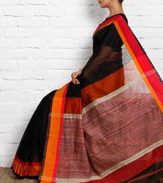 Black Silk Maheshwari Saree