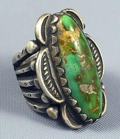 22g GORGEOUS Ingot Coin Silver PILOT MOUNTAIN Turquoise JOCK FAVOUR Ring Sz 8