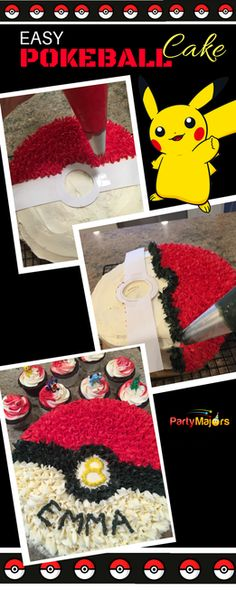 Easy Pokemon Cake. DIY POKEBALL Cake & Cupcakes. |Pokemon Cake Decorations| Pokemon Cupcake Decorations|