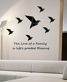 Birds Family Origami Wall Decal Vinyl Art Home Decor the Love of a Family Is Life's Greatest Blessing