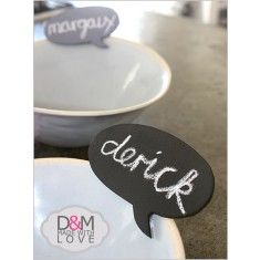 Speech bubble chalkboard pegs - set of six.