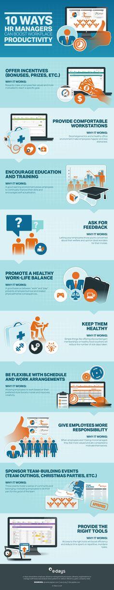 10 Ways HR Managers Can Boost Workplace Productivity [Infographic] Productivity In The Workplace, Improve Productivity, Hr Management, Change Management, Business Tips, Business Infographics, Employee Engagement, Education And Training, Keeping Healthy