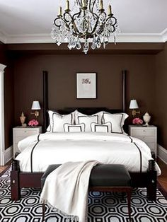 Master Suite - I love the espresso colored wall and bedding - very clean looking!   This is a simple, yet beautiful look!!!