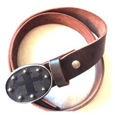 "Boutique Brown Leather Belt with Cross Buckle Brown Leather Belt with Cross Buckle. Worn once. Purchased at Boutique. Belt itself is approximately 40"" and can be cut down. Accessories Belts"
