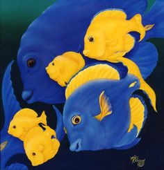 Blue Tango acrylic o n silk/linen board<br> Original Sold Blue Tango, Magical Paintings, Fish Art, Wildlife Art, Dinosaur Stuffed Animal, Creatures, Sea, Wall Art, Artist