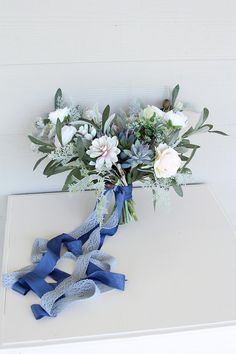 Something Blue Wedding Bouquet Wedding Bouquets, Wedding Flowers, Something Blue Wedding, Faux Succulents, Greenery, Rose, Floral, Handmade, Bridal Bouquets