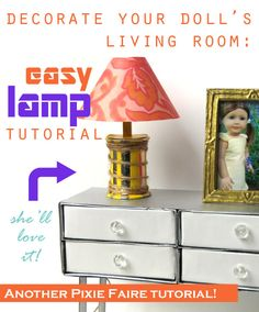 Free Tutorial - How to make an Easy Miniature Lamp for Dolls - www.PixieFaire.com #DIY #dollcraft #doll