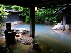 Photo → here Japan is known for its hot springs, you can swim year round natural healthy spa. Onsen means hot springs. Japanese Spa, Japanese House, Japanese Culture, Kurokawa Onsen, Pretty Things, Japanese Hot Springs, Spring Spa, Spring Resort, Outdoor Baths