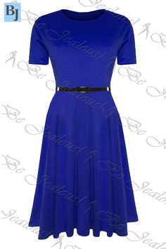 d93451f388e Womens Skater Dress Ladies Belted Cap Sleeve Flared Swing Plus Size Midi  Dresses