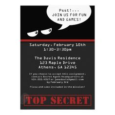 Spy Birthday Party Invitation