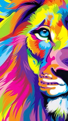 Hot Price Pop Art HD Print Colorful Lion Animals Abstract Oil Painting on Canvas Modern Wall Art Picture for Kid Room Poster Cudros Decor .more information please click the link Rainbow Lion, Tableau Pop Art, Lion Painting, Lion Art, Arte Pop, Modern Wall Art, Art Plastique, Lions, Art Projects