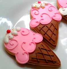 12 Pretty Pink Sweet Shop Little Girl Decorated Sugar Cookies Birthday Party Favor Ice cream cone. $36.00, via Etsy.