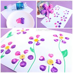 Crafting fun for kids:  bottle print button flowers