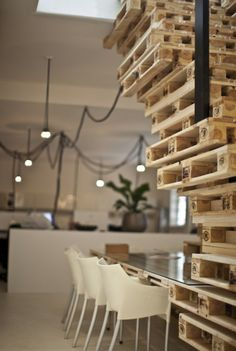 Pallet Project by MOST Architecture, Amsterdam office design furniture 2 eco Design Furniture, Pallet Furniture, Office Furniture, Funny Furniture, Recycled Pallets, Wooden Pallets, Repurposed Wood, Pallet Stairs, Industrial Home Offices