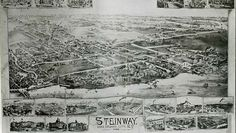 """NYC History: In 1870, William Steinway bought land which eventually became a company town surrounding the piano factory. """"Steinway Village""""  included a school, church, baseball team and even an amusement park (now the site of LaGuardia Airport)."""