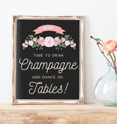 This rustic wedding champagne bar sign reads woo! Time to Drink Champange and Dance on Tables and features a chalkboard color background with hand illustrated florals. This instant download sign is sized to 8x10. See the whole set here: https://www.etsy.com/shop/MissDesignBerryInc/search?search_query=The+Cady+Sign+Set&order=date_desc&view_type=list&ref=shop_search  If you need this sign in another size, please message us and we can set ...