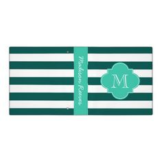"""Chic Teal and Turquoise Striped Custom Monogram Binder 1.5"""""""