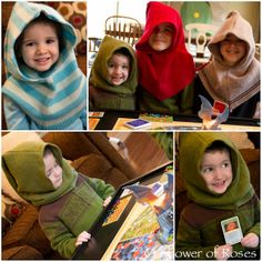 Hobbit Hoods! From upcycled sweaters :) I've pinned a similar idea (probably from the same blog) This link if you click is for a hobbit themed bday party which is very cute